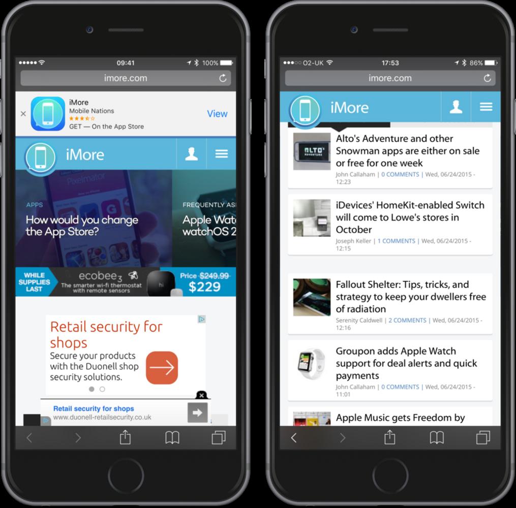 iMore.com после введения блокировки рекламы в iOS 9